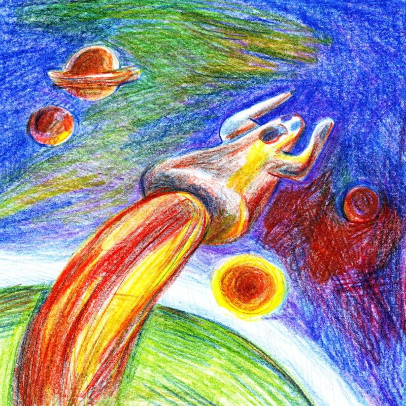 A silhueta gritando tirada de um homem com suas mãos acima, voando longe da superfície de um planeta verde gosta de um foguete no ilustração do vetor