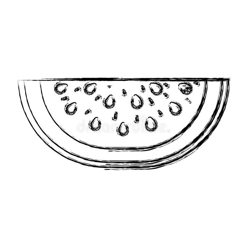 Silhueta grossa borrada do corte do fruto da melancia ilustração stock