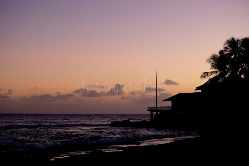 Silhueta havaiana do por do sol fotografia de stock