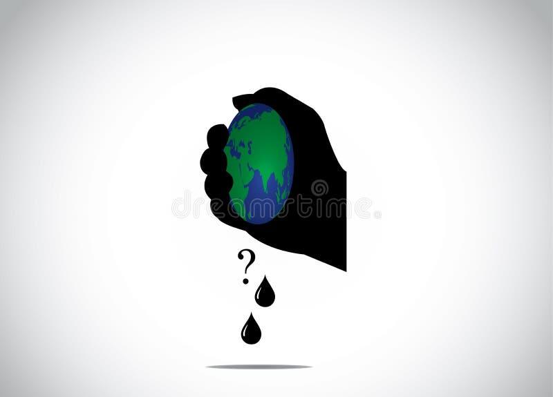 Silhueta humana da mão que espreme a terra do planeta para o combustível fóssil ilustração stock