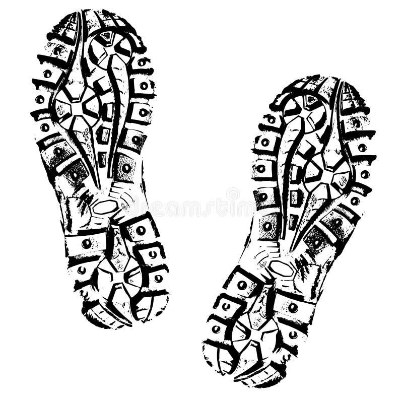 Silhueta humana da sapata das pegadas Isolado no fundo branco, ícone do vetor Bota do traço ilustração stock