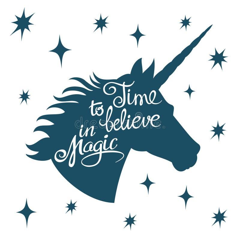 Silhueta inspirador do unicórnio com conceito mágico do vetor da rotulação positiva da frase ilustração stock
