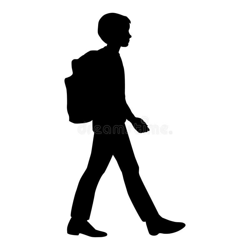 Silhueta isolada de um menino que vai com uma trouxa à escola ilustração stock