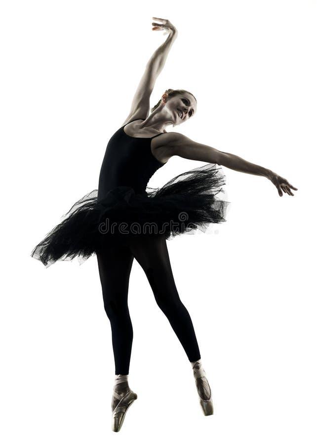 Silhueta isolada mulher da dança do dançarino da bailarina foto de stock royalty free