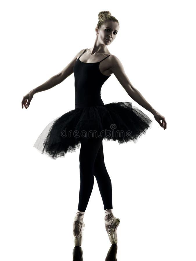 Silhueta isolada mulher da dança do dançarino da bailarina foto de stock