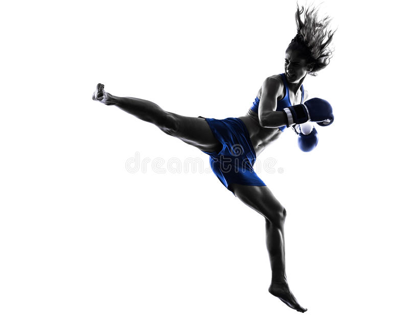 Silhueta kickboxing do encaixotamento do pugilista da mulher isolada fotos de stock