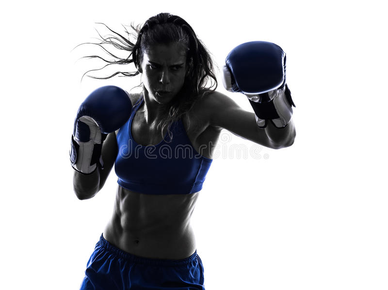 Silhueta kickboxing do encaixotamento do pugilista da mulher isolada fotografia de stock royalty free