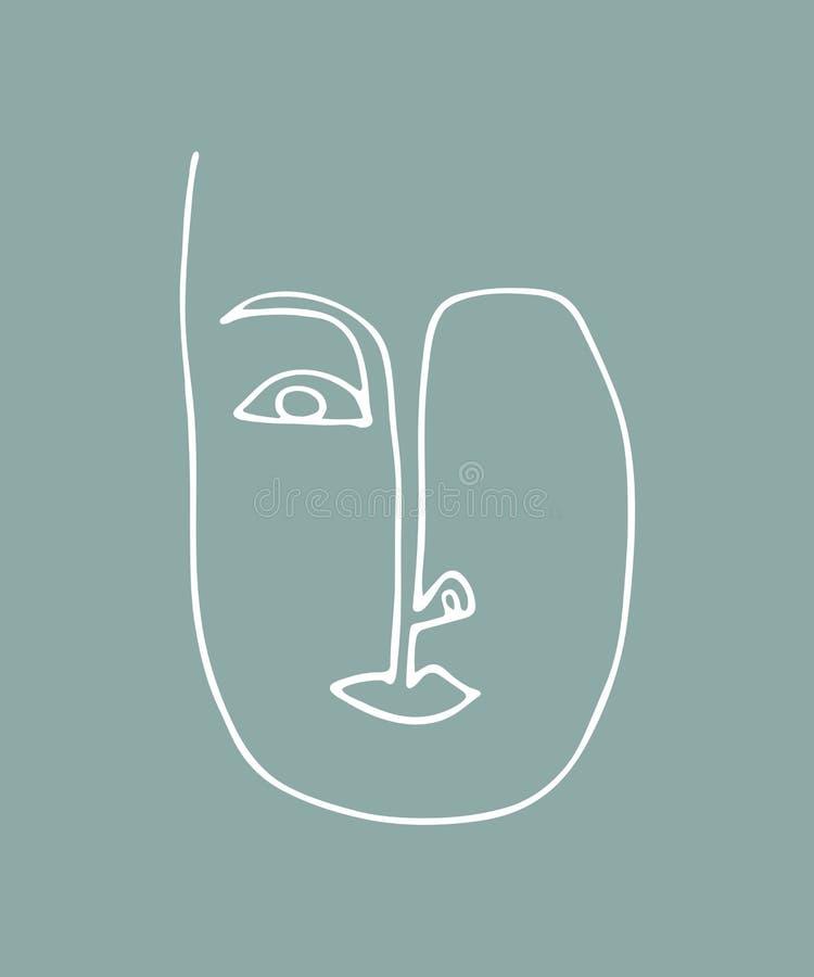 Silhueta linear abstrata do rosto humano Cartaz moderno da vanguarda Cara minimalistic na moda ilustração do vetor