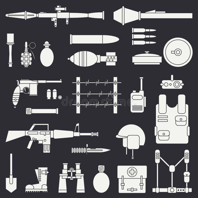 Silhueta Linha grupo militar do ícone do vetor liso Equipamento e armas do exército Estilo dos desenhos animados assalto soldados ilustração do vetor