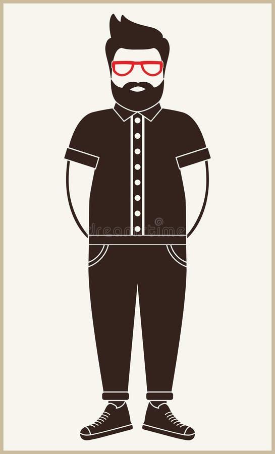 Silhueta lisa do ícone do homem do moderno - um homem com um bigode, barba e vidros, vestir em uma camisa, calças e sapatilhas imagem de stock royalty free