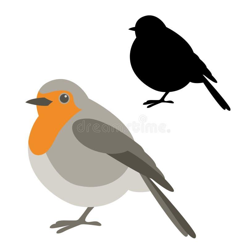 Silhueta lisa do estilo da ilustração do vetor do pássaro do pisco de peito vermelho ilustração do vetor