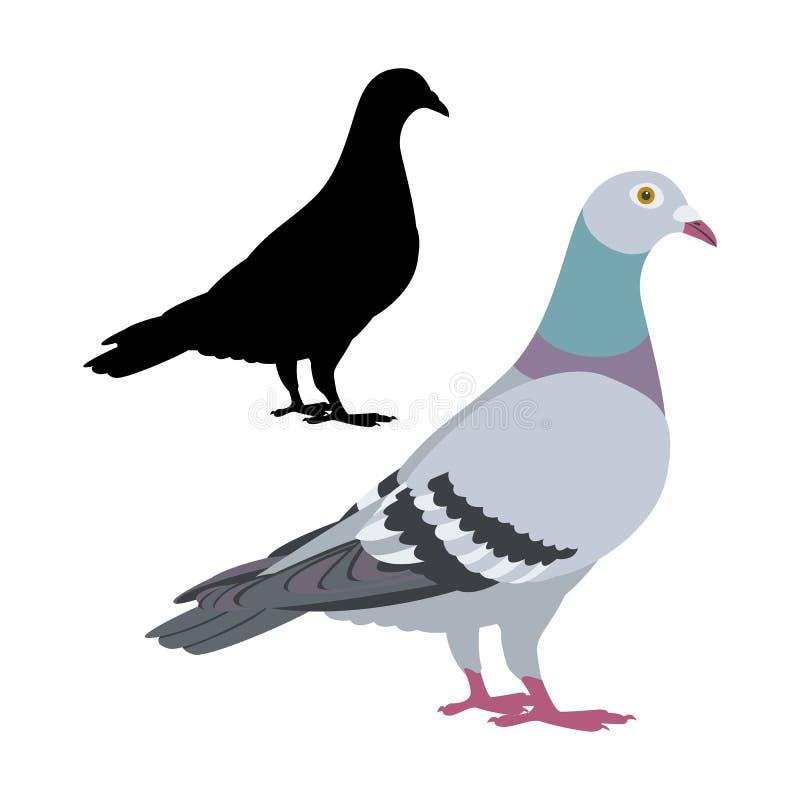 Silhueta lisa do preto do estilo da ilustração do vetor do pássaro do pombo ilustração do vetor