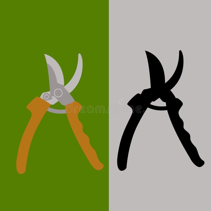 Silhueta lisa do preto do estilo da ilustração do vetor da tesoura de podar manual do jardim ilustração royalty free