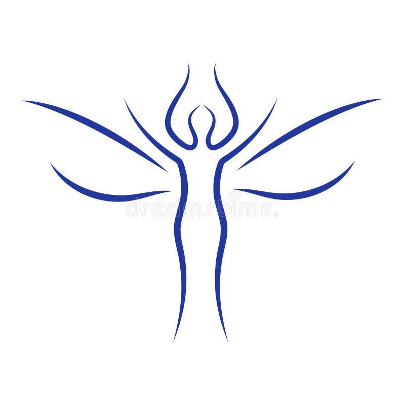 Silhueta mágica da mulher com Angel Wings ilustração royalty free