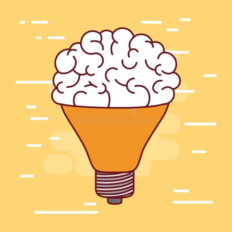 Silhueta média da ampola com o cérebro dentro de e a luz do fundo - amarelo ilustração royalty free