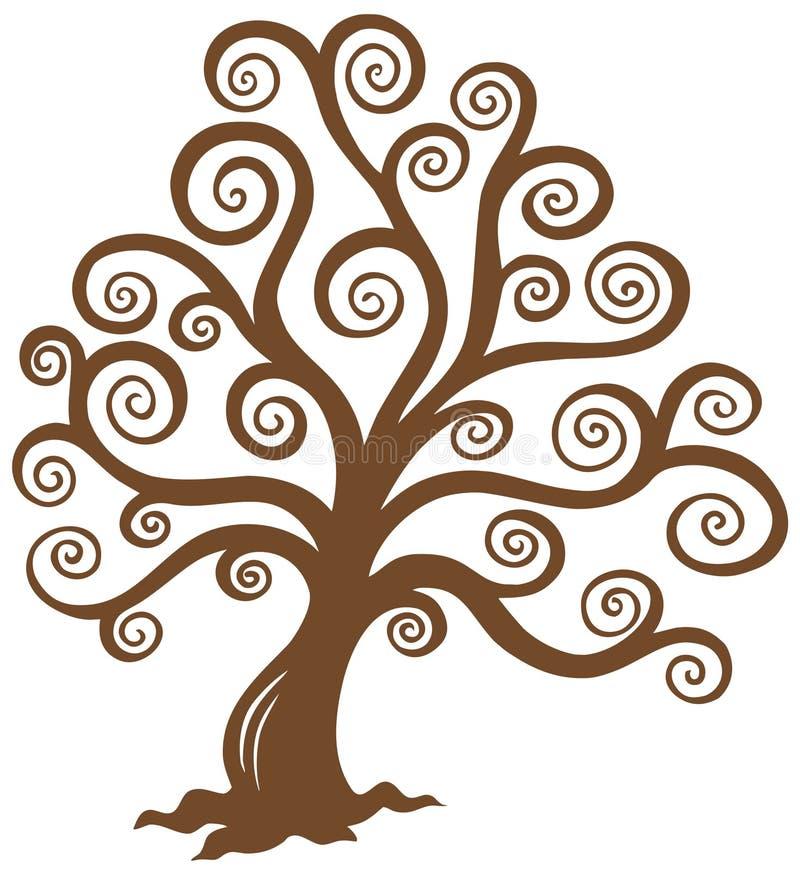 Silhueta marrom estilizado da árvore ilustração royalty free