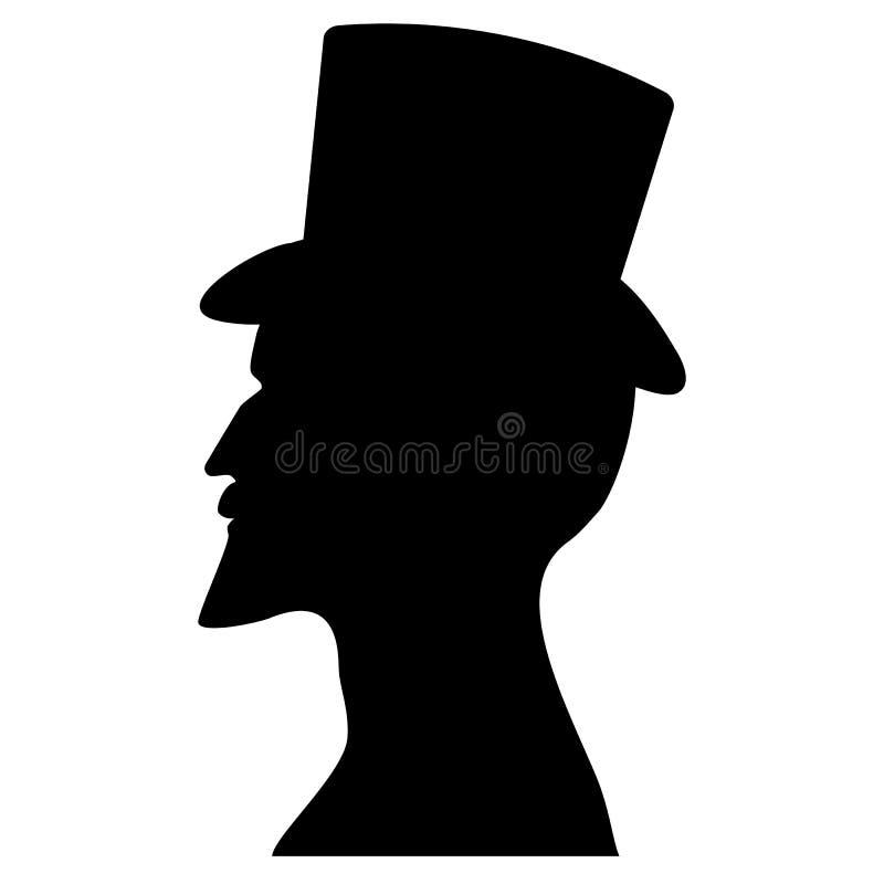 Silhueta masculina do perfil em um chapéu alto ilustração royalty free