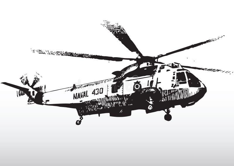 Silhueta militar do helicóptero ilustração royalty free