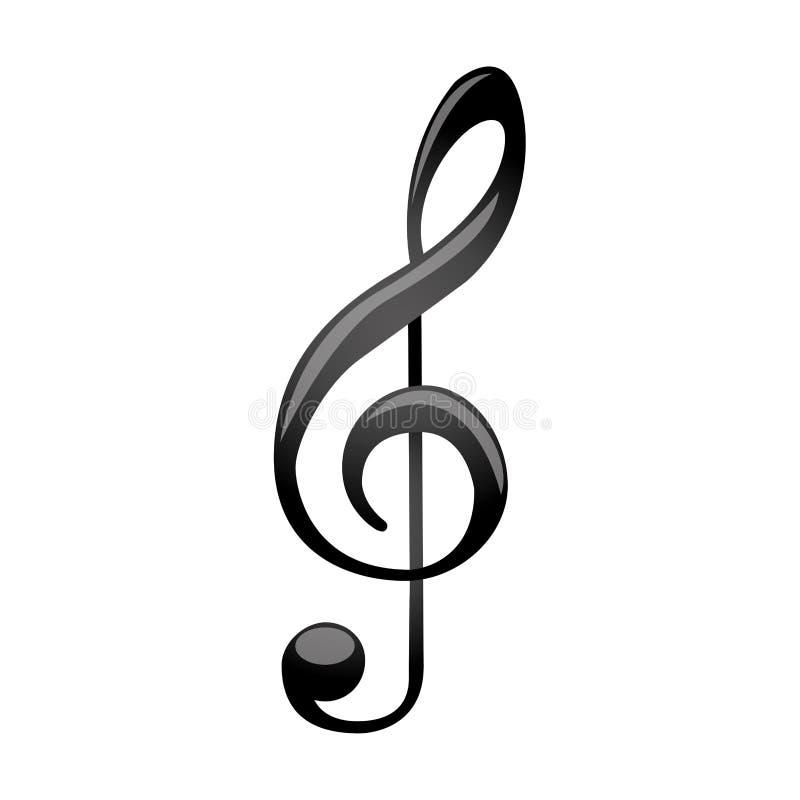 silhueta monocromática com clave de sol da música do sinal ilustração stock
