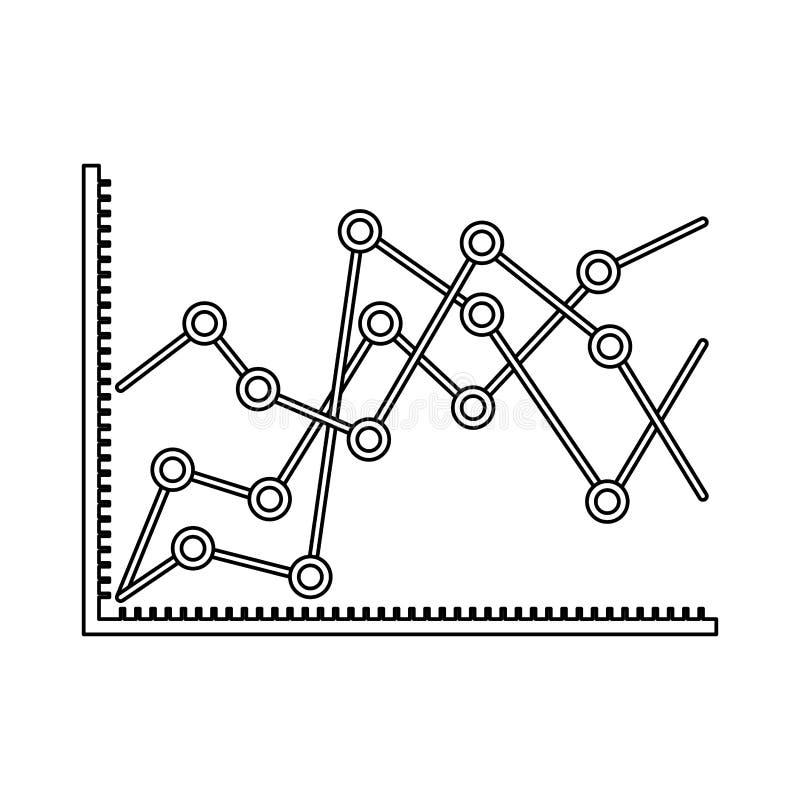 Silhueta monocromática da aumentação linear dos gráficos estatísticos ilustração do vetor