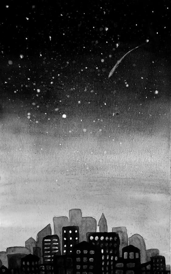 Silhueta monocromática da cidade, de megopolis, de arquitetura da cidade em um nascer do sol do fundo e de um céu estrelado com e ilustração do vetor