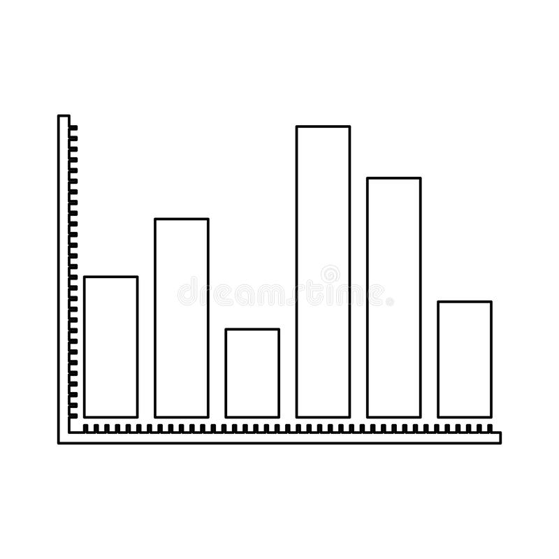 Silhueta monocromática de barras grossas dos gráficos estatísticos ilustração royalty free