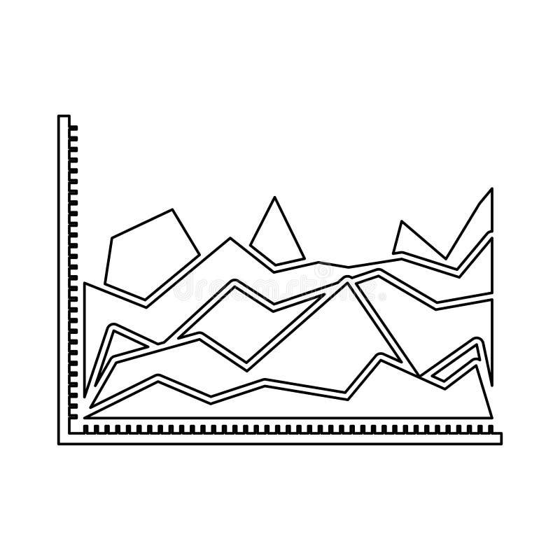 Silhueta monocromática de gráficos estatísticos na forma do pico ilustração royalty free