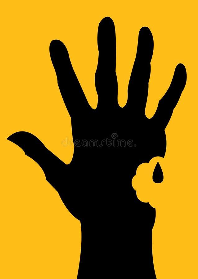 Silhueta mordida da mão ilustração do vetor