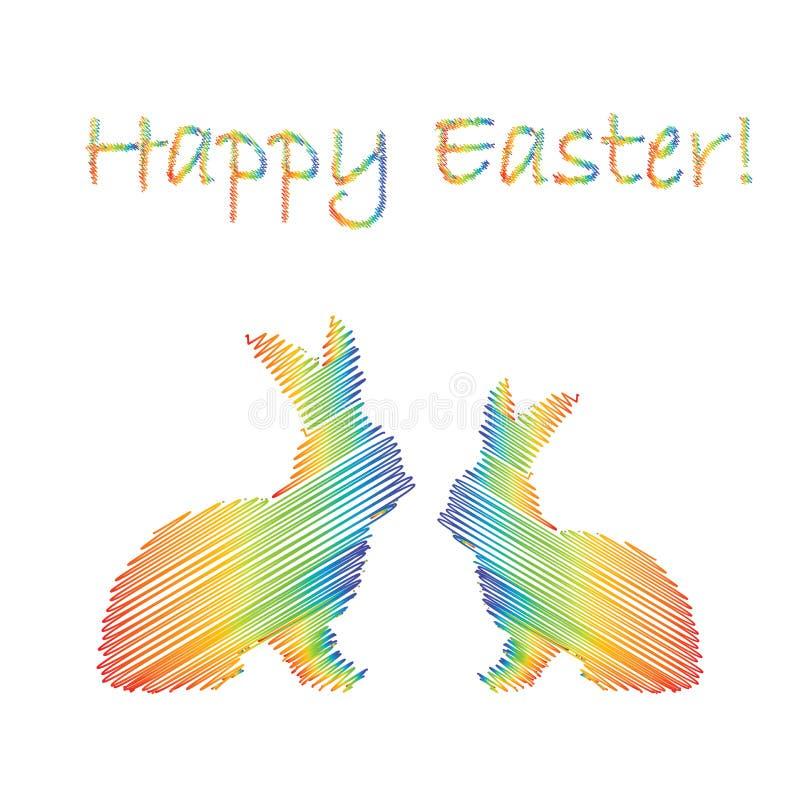 Silhueta multicolorido de dois coelhos de coelhinho da Páscoa ilustração stock