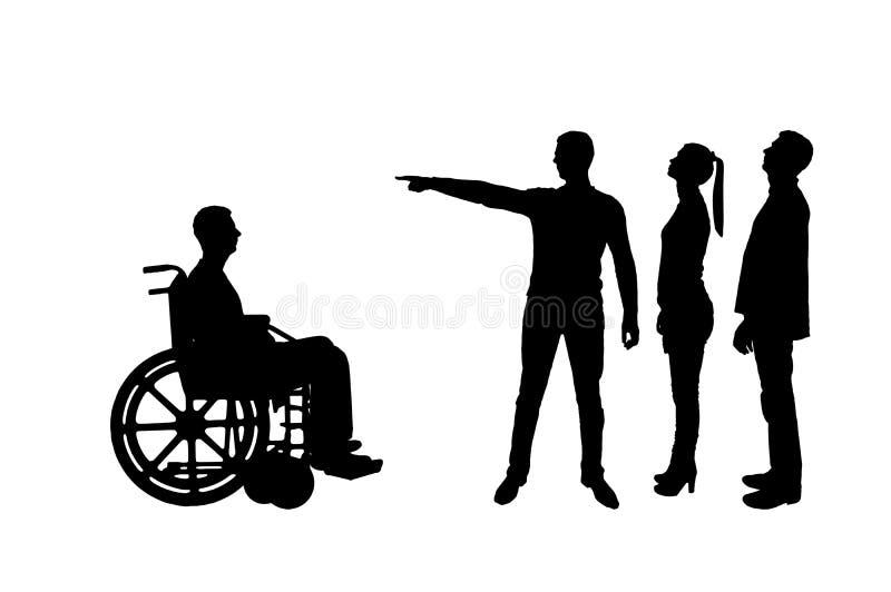 Silhueta A multidão de povos faz claro a um inválido em uma cadeira de rodas que deve andar afastado ilustração stock