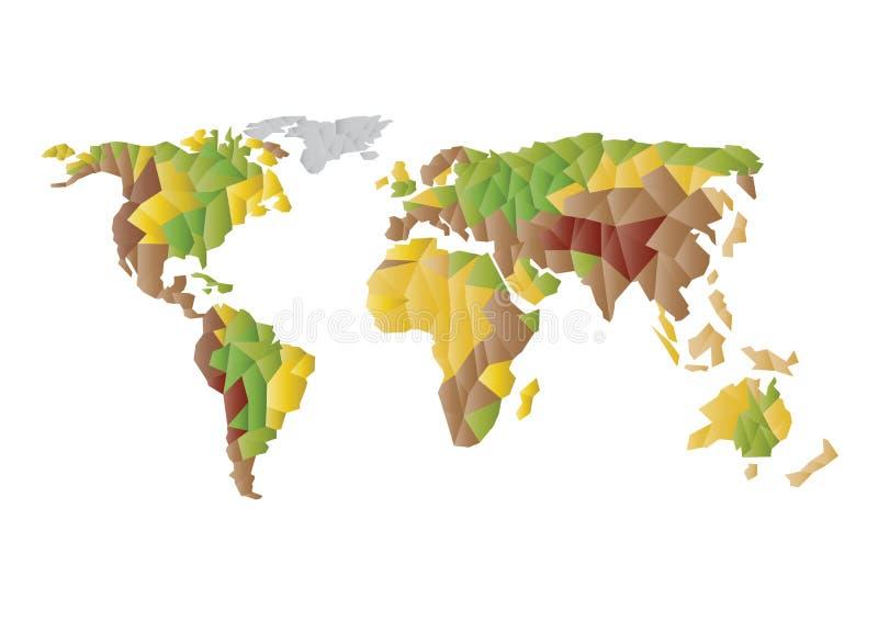 Silhueta na moda do mapa do mundo do vetor de baixas formas poligonais coloridas isolada no fundo branco ilustração do vetor