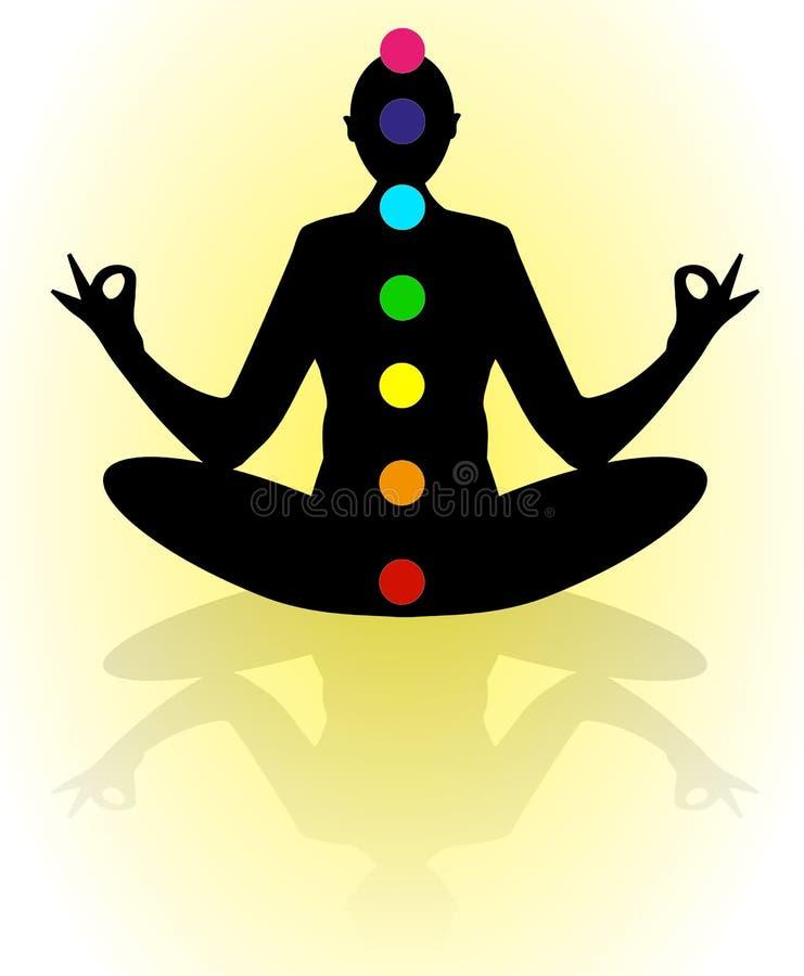 Silhueta na pose da ioga ilustração royalty free
