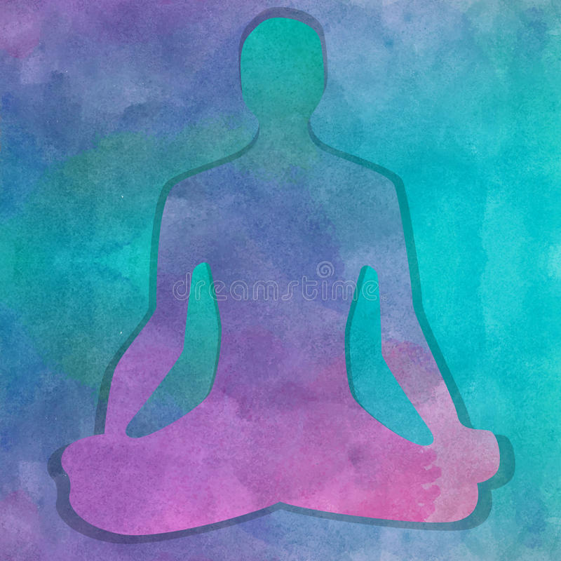 Silhueta na pose da ioga sobre o fundo da aquarela ilustração do vetor
