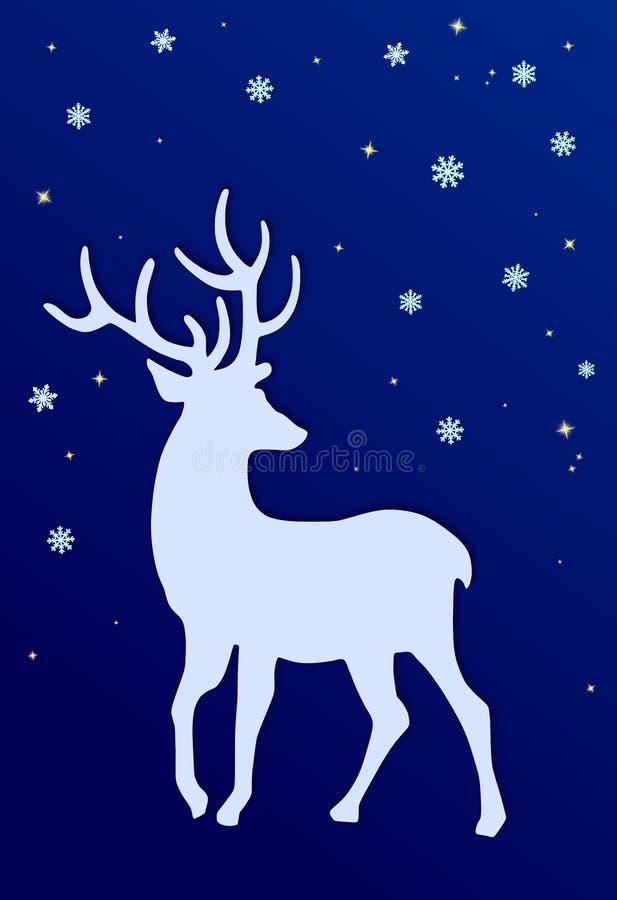 Silhueta, neve e estrelas dos cervos ilustração do vetor