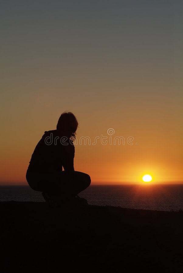 Silhueta no por do sol fotos de stock royalty free