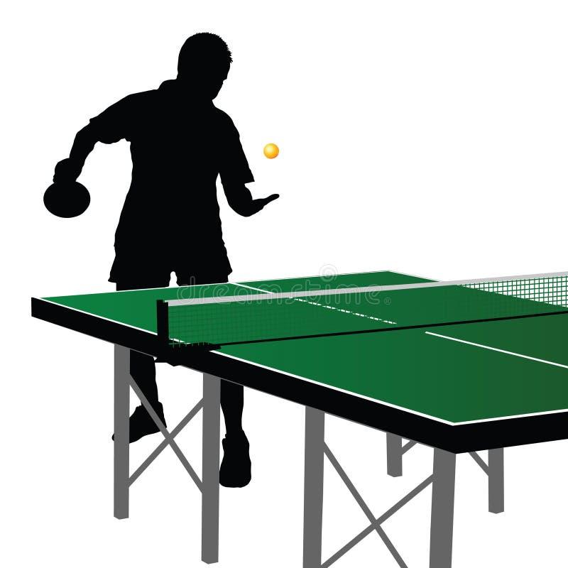 Silhueta nove do jogador do pong do sibilo ilustração royalty free