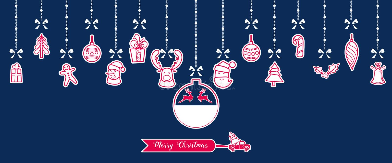 Silhueta O Natal de papel ornaments a suspensão com fundo isolado fita ilustração do vetor