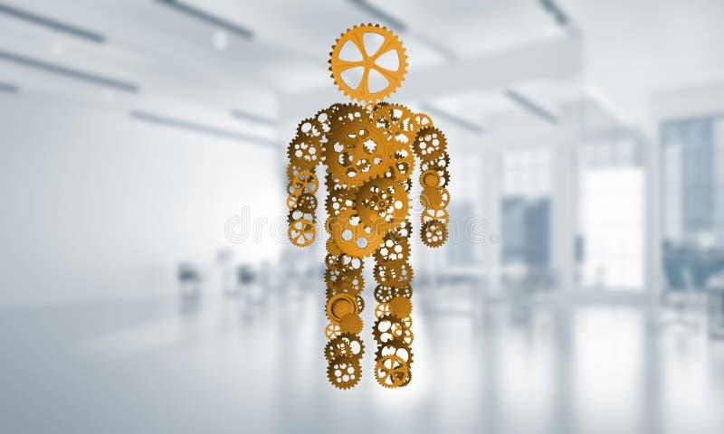 Silhueta ou projeto do homem apresentada como uns mecanismo e motor de trabalho foto de stock