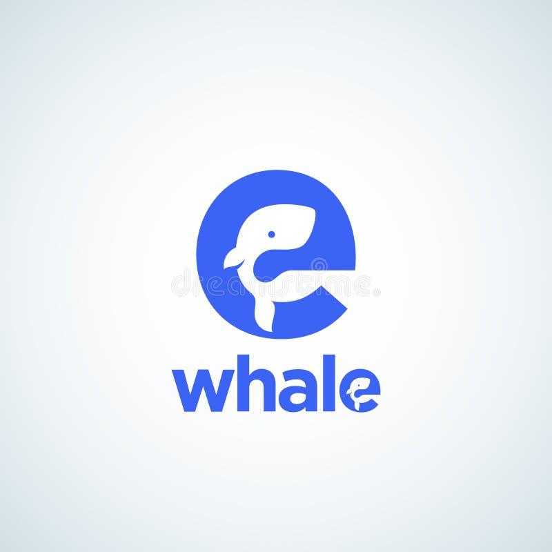 Silhueta pequena bonito da baleia incorporada na letra E Molde, sinal ou ícone abstrato do logotipo do vetor Espaço negativo ilustração stock