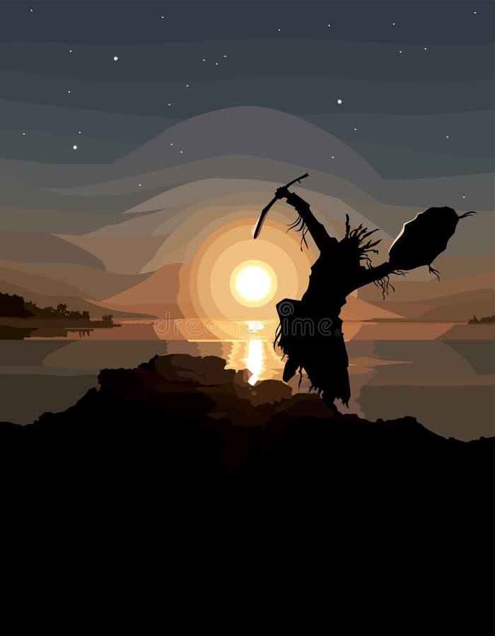 Silhueta pintada de um curandeiro da dança no por do sol perto do rio ilustração do vetor