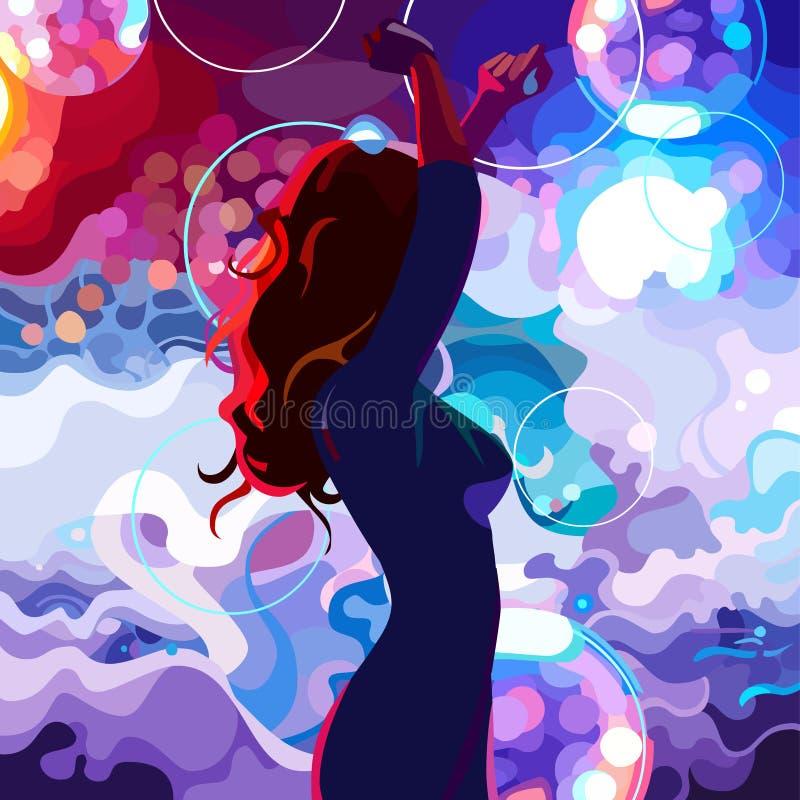 Silhueta pintada de uma mulher da dança no salão de baile colorido ilustração royalty free