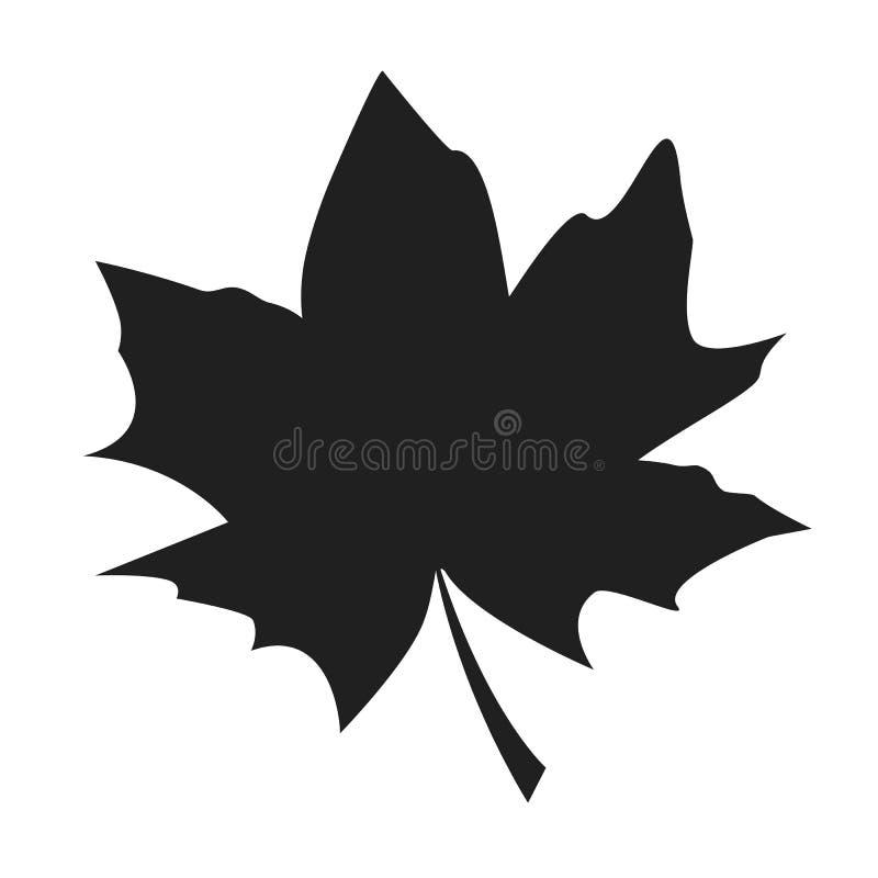 Silhueta preta Autumn Fallen Object da folha de bordo ilustração do vetor