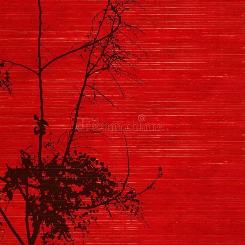 Silhueta preta da árvore da flor no vermelho imagem de stock royalty free