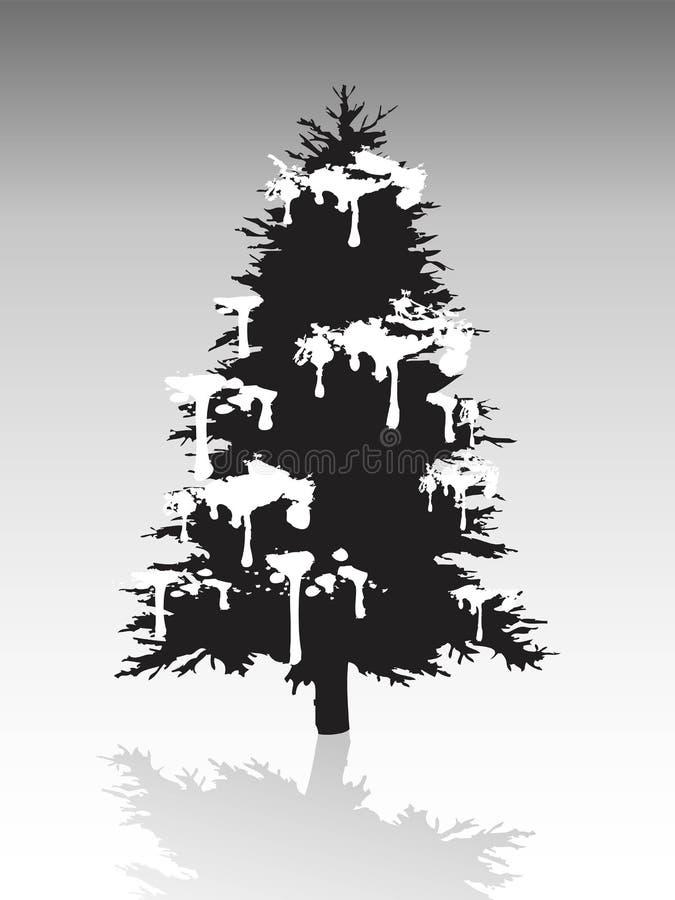 Silhueta preta da árvore de Natal coberta com a neve ilustração do vetor