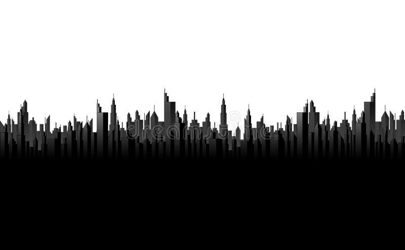 Silhueta preta da arquitetura da cidade ilustração royalty free