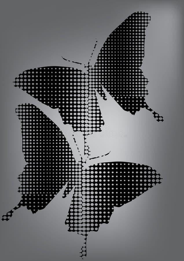 Silhueta preta da borboleta ilustração royalty free
