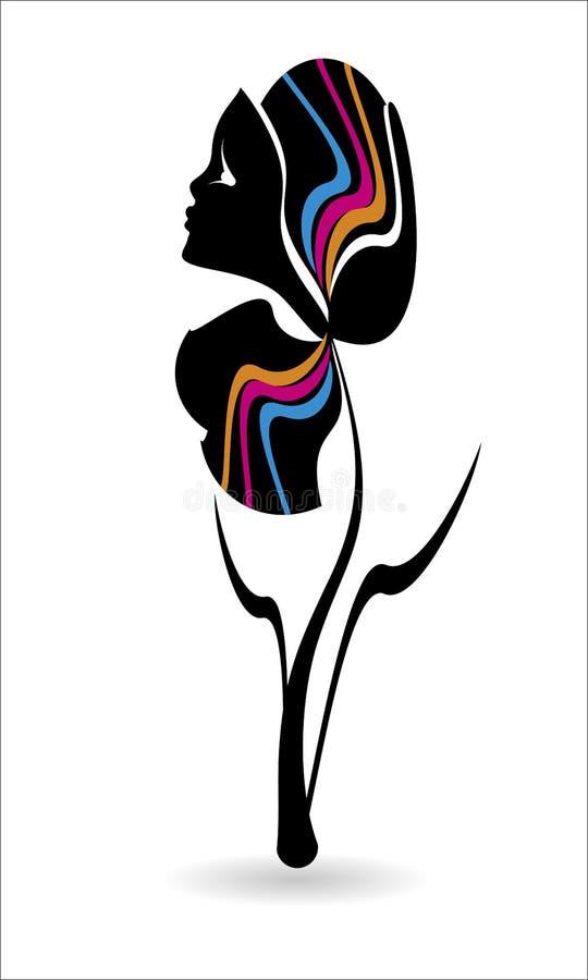 Silhueta preta da cara de uma menina de uma flor linha bonita de cara fêmea ilustração stock