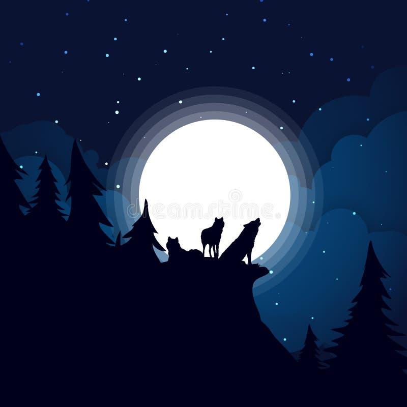 Silhueta preta da família do lobo o fundo da Lua cheia ilustração stock