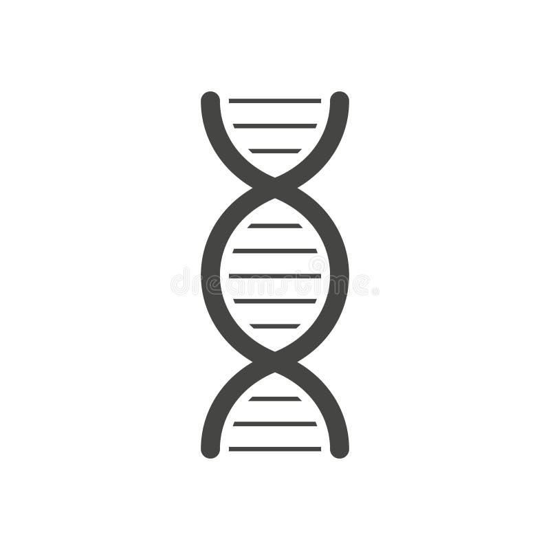 Silhueta preta da h?lice do ADN isolada no fundo branco ilustração do vetor