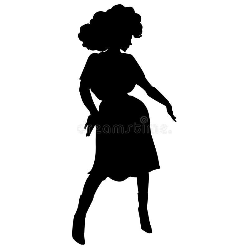 Silhueta preta da menina do disco da dança no fundo branco ilustração do vetor